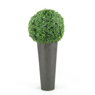 D&W Silks Boxwood Ball in Round Planter