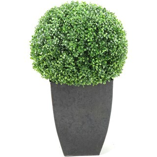 D&W Silks Boxwood Ball in Square Planter