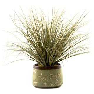 D&W Silks Onion Grass in Oblong Ceramic Planter
