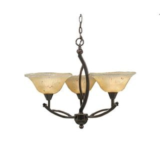 Cambridge 3-Light Black Copper 22.25 in. Chandelier with Amber Crystal Glass