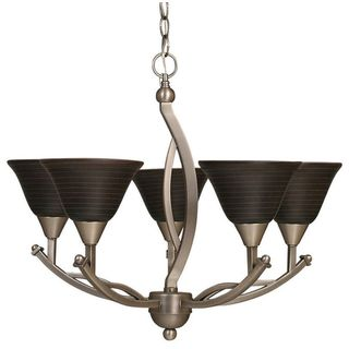 Cambridge 5-Light Black Copper 25 in. Chandelier with Charcoal Spiral Glass