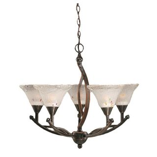 Cambridge 5-Light Black Copper 25.25 in. Chandelier with Frosted Crystal Glass