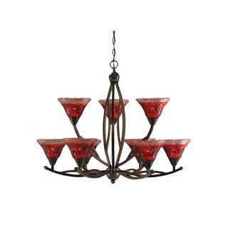 Cambridge 9-Light Black Copper 32.5 in. Chandelier with Raspberry Crystal Glass