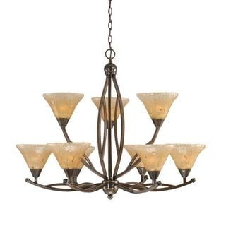 Cambridge 9-Light Black Copper 33.75 in. Chandelier with Amber Crystal Glass