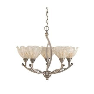 Cambridge 5-Light Brushed Nickel 23.5 in. Chandelier with Gold Ice Glass