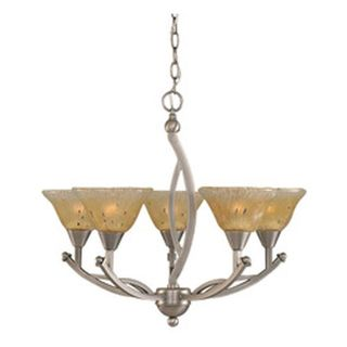 Cambridge 5-Light Brushed Nickel 23.5 in. Chandelier with Amber Crystal Glass