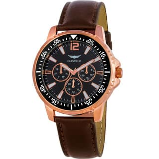 Gianello Men's Brown Leather Strap Multi-Function Divers Watch|https://ak1.ostkcdn.com/images/products/10018006/P17165004.jpg?impolicy=medium