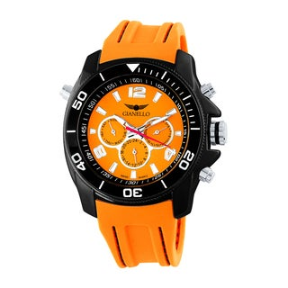 Gianello Men's Orange Stitched Silicone Swiss Multi-Function Divers Watch
