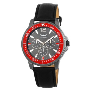 Gianello Men's GNL7701RD Black Leather Strap Multi-Function Divers Watch
