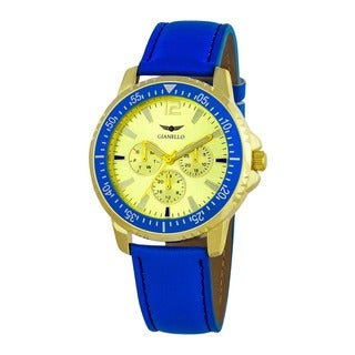 Gianello Men's Blue Leather Strap Multi-Function Divers Watch