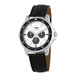 Gianello Men's Black Leather Strap Multi-Function Divers Watch