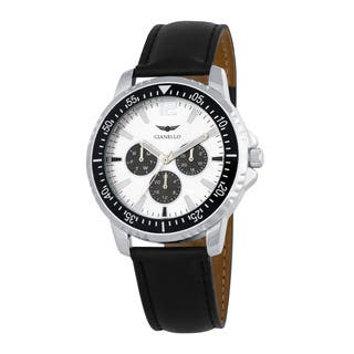 Gianello Men's Black Leather Strap Multi-Function Divers Watch|https://ak1.ostkcdn.com/images/products/10018019/P17165016.jpg?impolicy=medium