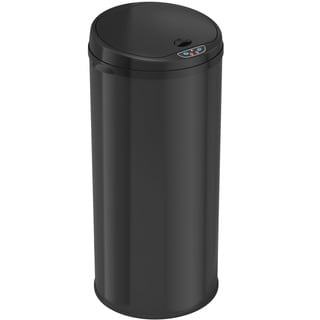 iTouchless Deodorizer 13-gallon Round Sensor Black Matte Finish Trash Can