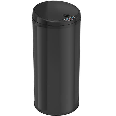 iTouchless 13-gallon Round Sensor Black Matte Finish Trash Can with Deodorizer