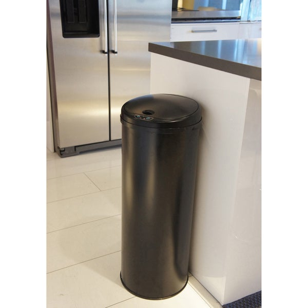 itouchless 13gallon round sensor black matte finish trash can with deodorizer - 13 Gallon Trash Can