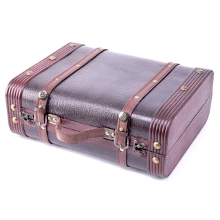 Decorative Faux Gator Leather Suitcase - cherry