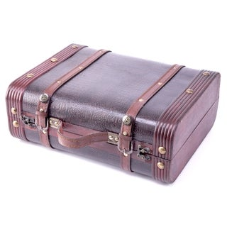 Decorative Faux Gator Leather Suitcase - cherry