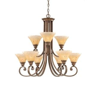 Cambridge 9-Light Bronze 31 in. Chandelier with Amber Crystal Glass