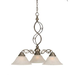 Cambridge 3-Light Brushed Nickel 25.25 in. Chandelier with White Glass