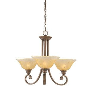 Cambridge 3-Light Bronze 24.5 in. Chandelier with Amber Crystal Glass