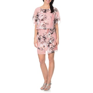 S.L Fashions Women's Flutter Sleeve Printed Popover Dress
