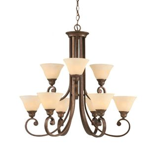 Cambridge 9-Light Bronze 30.75 in. Chandelier with Amber Marble Glass