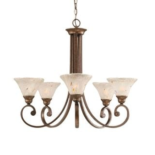 Cambridge 5-Light Bronze 27 in. Chandelier with Frosted Crystal Glass