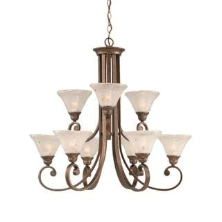 Cambridge 9-Light Bronze 31.25 in. Chandelier with Frosted Crystal Glass