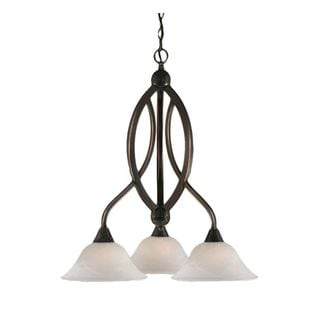 Cambridge 3-Light Black Copper 21.75 in. Chandelier with White Alabaster Glass