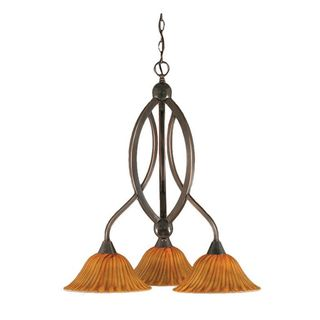 Cambridge 3-Light Black Copper 21.75 in. Chandelier with Tiger Glass