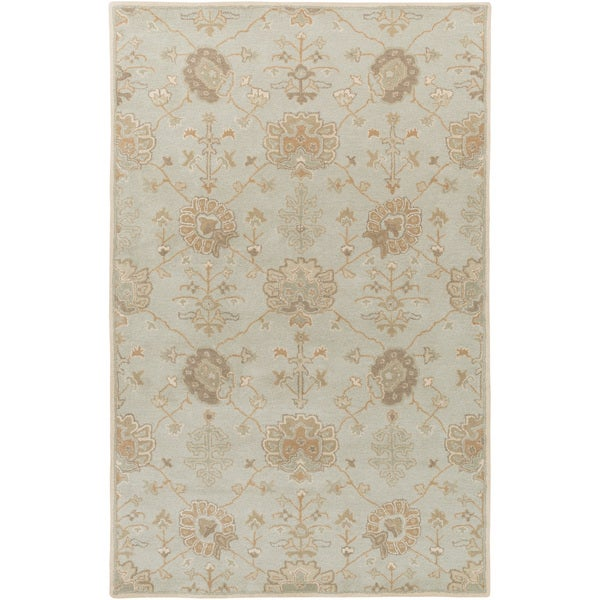 Hand-Tufted Syston Floral Wool Area Rug - 5' x 8'