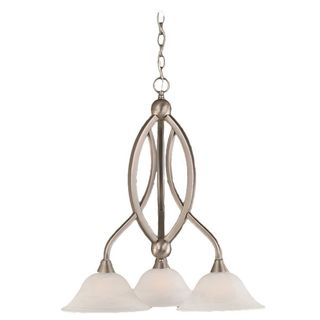 Cambridge 3-Light Brushed Nickel 21.75 in. Chandelier with White Alabaster Glass