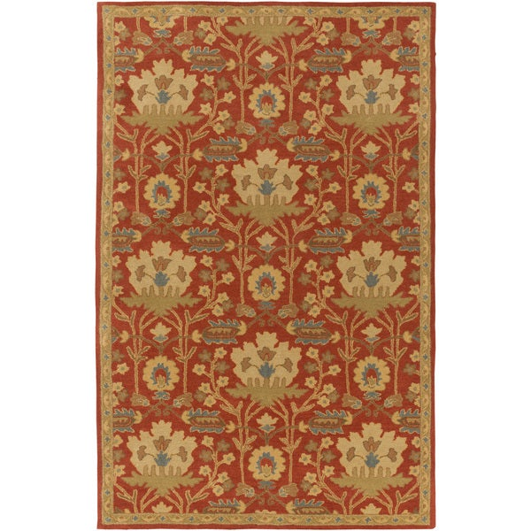 Hand-Tufted Widnes Floral Wool Area Rug