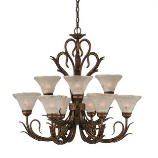 Cambridge 9-Light Bronze 28.25 in. Chandelier with Frosted Crystal Glass