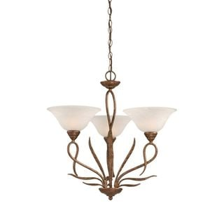 Cambridge 3-Light Bronze 23 in. Chandelier with White Alabaster Glass