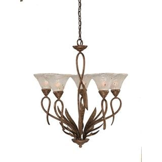 Cambridge 5-Light Bronze 26.75 in. Chandelier with Frosted Crystal Glass