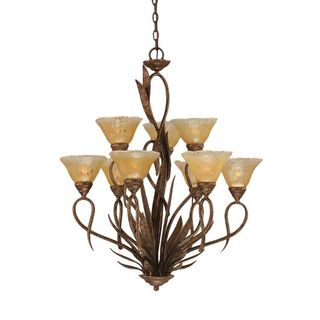 Cambridge 9-Light Bronze 29 in. Chandelier with Amber Crystal Glass