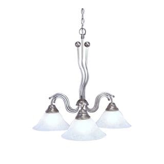 Cambridge 3-Light Brushed Nickel 26 in. Chandelier with White Marble Glass