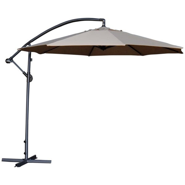 Abba Patio Deluxe Chocolate 10 Ft Adjustable Offset Cantilever Hanging Patio  Umbrella With Base And Crank