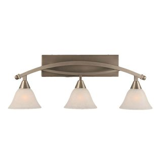 Cambridge 3-Light Brushed Nickel 28.75 in. Bath Vanity with White Marble Glass