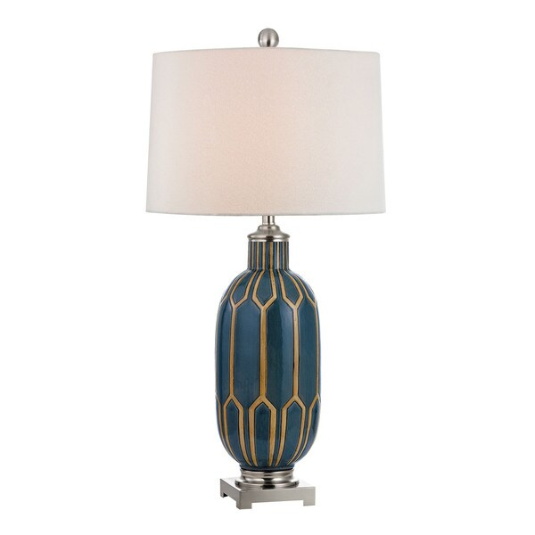 Blue and Off White 1-light Glazed Ceramic Table Lamp