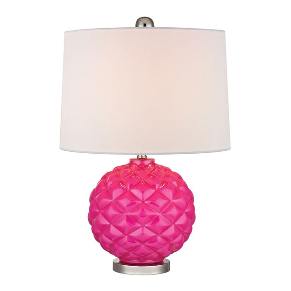 Hot Pink 1-light Glass Accent Lamp