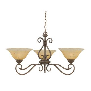 Cambridge 3-Light Bronze 31 in. Chandelier with Amber Crystal Glass