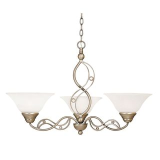 Cambridge 3-Light Brushed Nickel 29 in. Chandelier with White Marble Glass