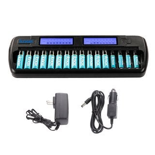 Knox 16 Bay Smart Fast Charging Ni-MH AA/AAA Battery Charger + 12 AA (2100 mAh)/4 AAA (1000 mAh) Rechargeable Batteries