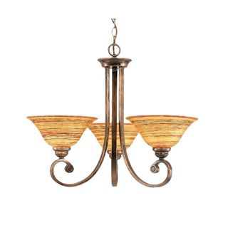 Cambridge 3-Light Bronze 24.5 in. Chandelier with Saturn Fire Glass