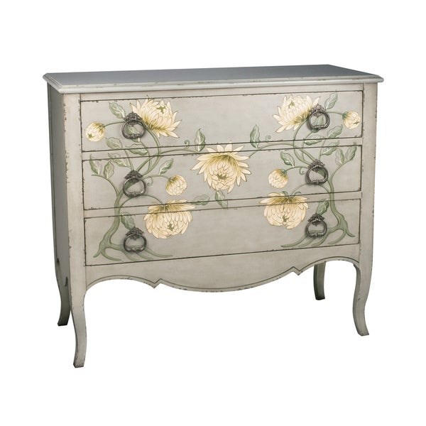 Hand painted peony 3 drawer chest free shipping today for Hand painted chests