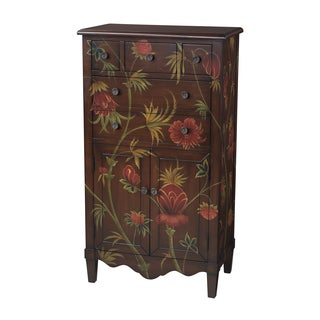 Mahogany Hand-painted Floral Credenza