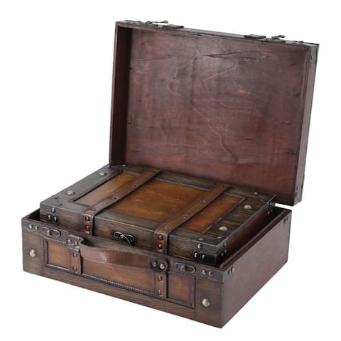 Old Style Suitcase With Straps, Small, Large or Set of 2 - brown