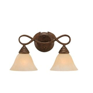 Cambridge 2-Light Bronze 16 in. Bath Vanity with Amber Marble Glass